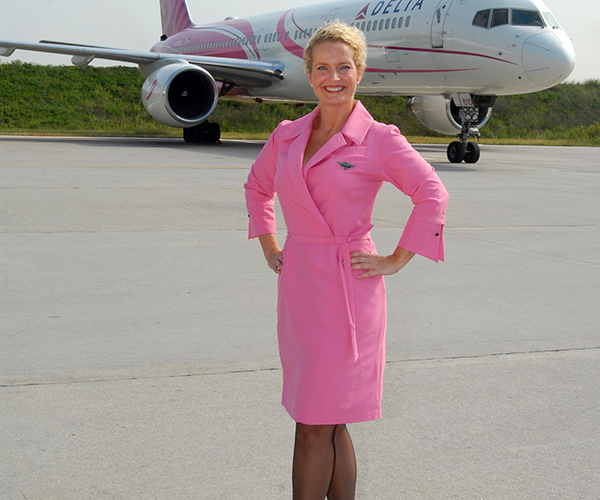 Pink Wrap Dress for Flight Attendants, 2001